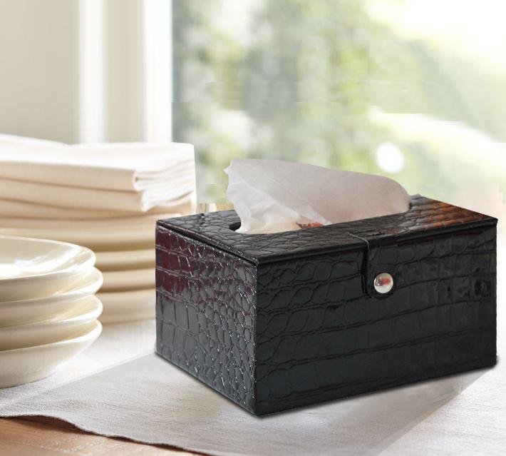 Table napkin box medium black crocodile pattern leather - Serviette table tissu ...