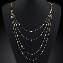 New Hammered Bar Simple Double Chain Charm Simulated Pearl Necklace Beads Long Strip Pendant Necklaces Wedding Event Jewelry(China (Mainland))