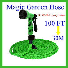 Magic hose 100FT Garden watering Hose + with spray gun+water hose/ Garden hose+ EU/US type+Working Length 30M+Plastic Connector(China (Mainland))