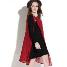 Горячая распродажа марка 2016 женщины асимметричный лоскутное шифон платья осень новинка с длинным рукавом о-образным вырезом молнии платье длиной до колен