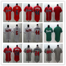 2016 Mens Flexbase 6 Bobby Cox 24 Deion Sanders 44 Hank Aaron blank jersey Color white Green red gray Throwback Jerseys(China (Mainland))