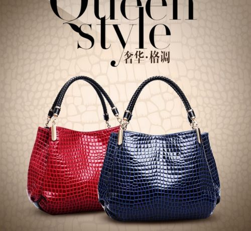 Womens Ladies Leather Handbag Briefcase Fashion Bag Crocodile Print Purse(China (Mainland))