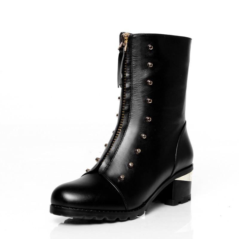 high quality 2015 fashion winter keep warm women boots med heel round toe solid black genuine leather ankle boots<br><br>Aliexpress
