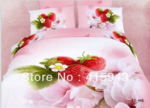 Strawberry shortcake bedding / Duvet/Quilt cover/ bedclothes Cotton queen size bed cover/floral sheets for bed/bedroom set king