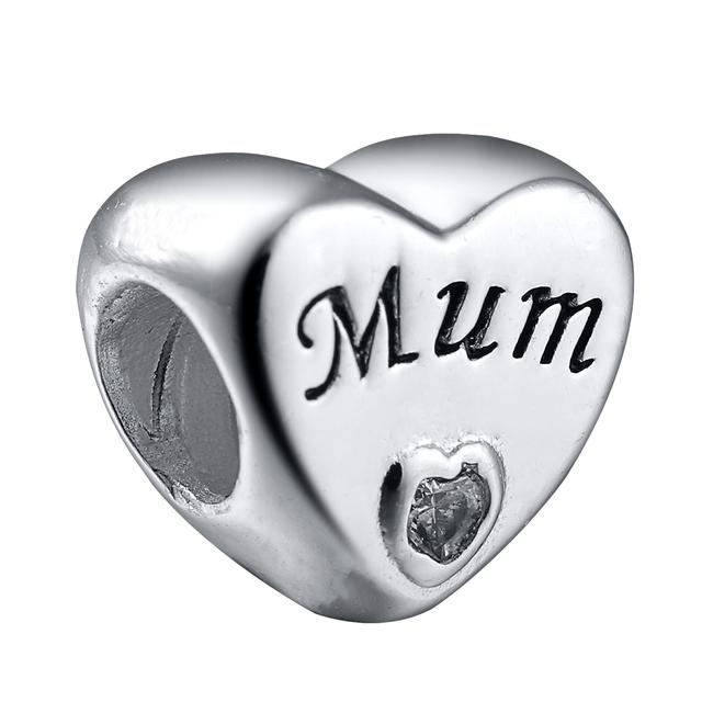 925 серебряный сердца и мама ясно циркон европейские подвески серебряные бусины для ...