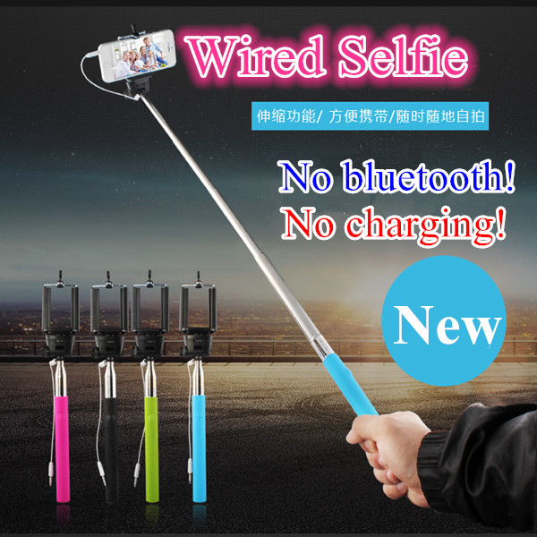Universal Wired Selfie Stick Monopod for iPhone 6 Plus IOS Android Palo Selfie Remote For Samsung Camera Suporte Para Selfie(China (Mainland))