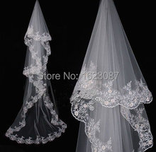 2015 Cheapest In Stock Bridal Veils Appliques Edge Tulle White Ivory Wedding Accessory Elegant Hot Sale Popular Long Veils(China (Mainland))
