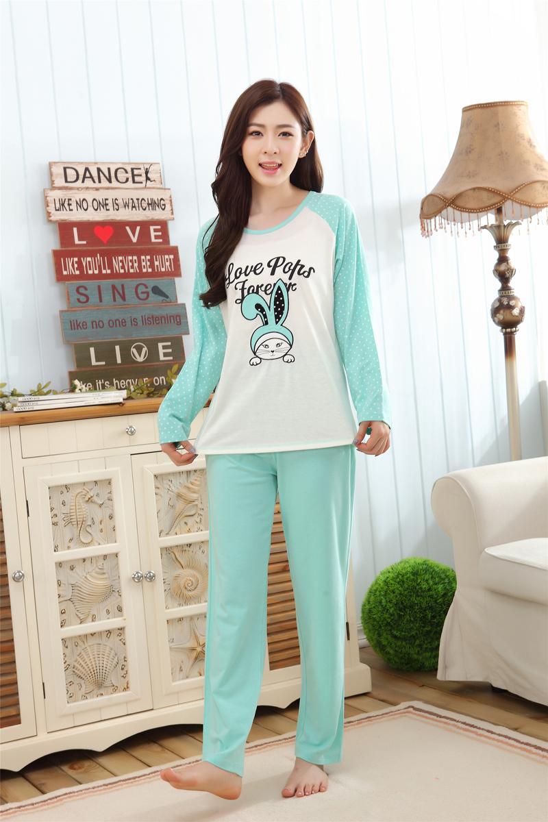 New 2015 Autumn Winter Cotton Womens Pajama Sets Female Cute Cartoon cat Sleepwear Lovely Ladies Plus Size Pijamas(China (Mainland))