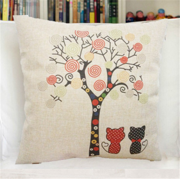 Fashion Simple Two Pices Cat A Tree Graffiti Straw Printed Pillow Case For Home Chair Decorative Cotton Linen Pillow Covers WZ(China (Mainland))