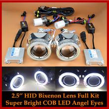 COB LED Angel Eyes Halo HID Bi xenon Lens Projector Headlight Retrofit Full Kit Xenon Headlamps H1 H4 H7 HB3 Car Styling(China (Mainland))