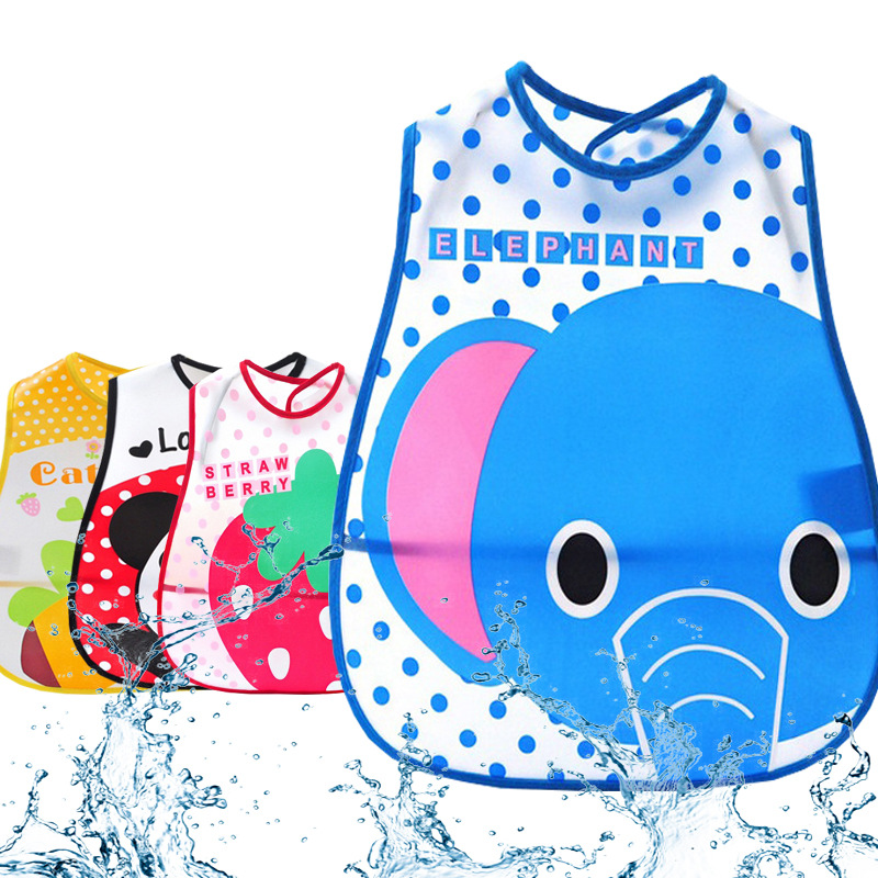 Solid Bibs Infant Baby EVA Eat Pocket Baberos Cartoon Animal Print Waterproof Child Overclothes Dribble Bibs(China (Mainland))