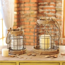 1PC Country Style Old Finish Iron Hand Rope Decorative Candle Holder Iron Candle Sticker Home Store Decoration Gift(China (Mainland))