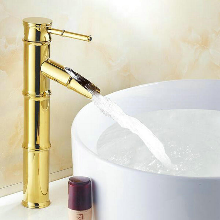 Bamboo Shape Golden Brass Single Hole Hot&Cold Water Mixer Countertop Bathroom Sink Faucet - The Fourth Dimension Of Life store