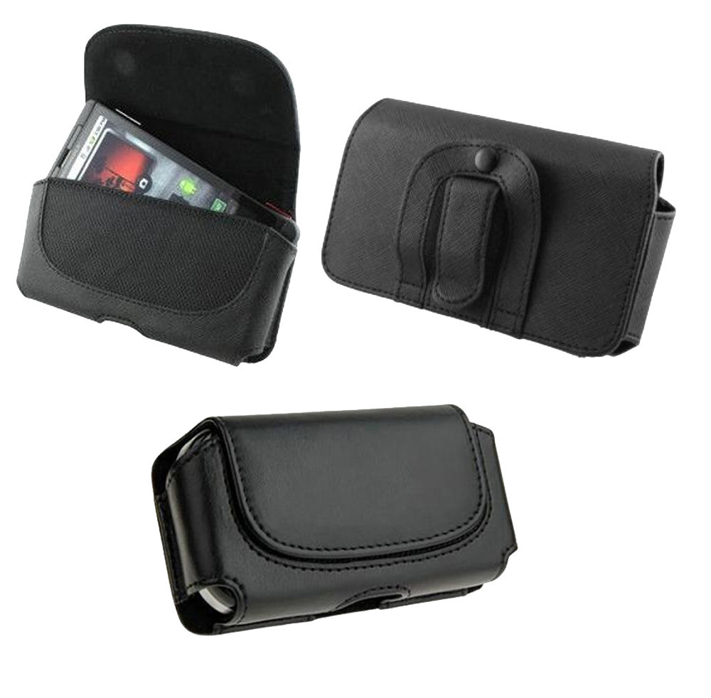 """Black Belt Leather Skin Bag Pouch Case Cover for Cell Phone Blackberry Z3 5""""(China (Mainland))"""