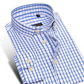 Mens Slim Fit Plaid Dress Shirts Button Down Collar Long Sleeve Men Classic Wrinkle Free Oxford