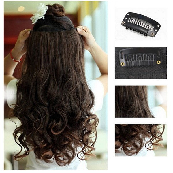 One Piece Clip in Synthetic Human Hair Extensions Long Wavy Curly Hair 5 Clips