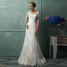 Buy Lace Wedding Dress Vintage V-Neck Half Sleeve Sweep Train Applique Mermaid Bridal Gowns Hot sale Vestido De Noiva Custom Made hu for $155.48 in AliExpress store