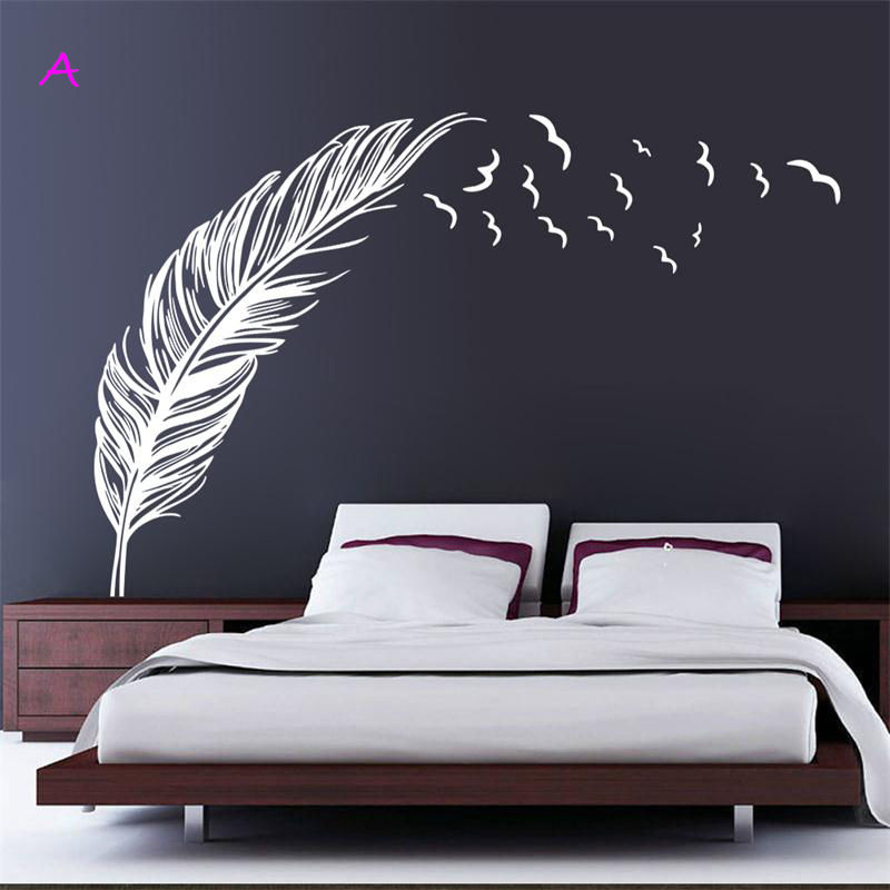 Wall Sticker Vinyl Birds Flying Feather Bedroom Home Decal Mural Art Decor Free shipping(China (Mainland))