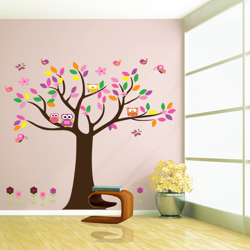 Buy beautiful colorfull tree wall decal for home decor decorative removable for Beautiful wall stickers for living room