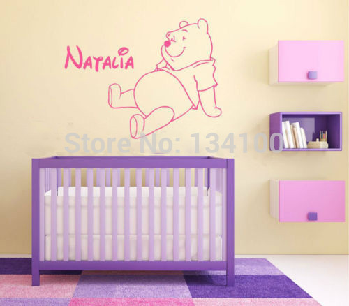 The Pooh Bear Personalised Vinyl Kids Wall Art Sticker Wall Decal Home Decor For Children Nursery Room-You Choose Name and Color(China (Mainland))