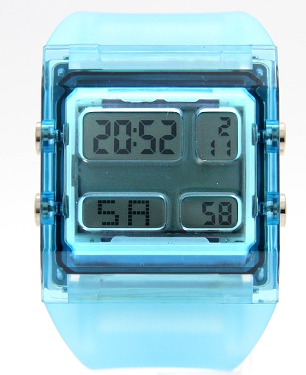 Rectangular Light Blue Watchcase Chronograph Alarm Boy Girl Digital Watch DW351A(China (Mainland))