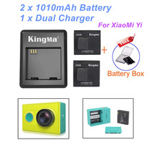 KingMa Battery 2PCS 1010mAh Xiaomi Xiaoyi Yi Battery Rechargable Battery + Charger For Xiaomi Yicamera Action Camera Accessories