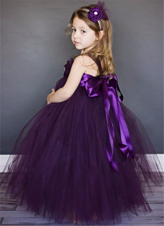 Скидки на Фиолетовый Цветок Девочки Платья Принцессы Свадебное Платье Костюмы Пушистые Девушки Тюль Юбки Младенца Платья Детские Торжества Бальное платье Платья
