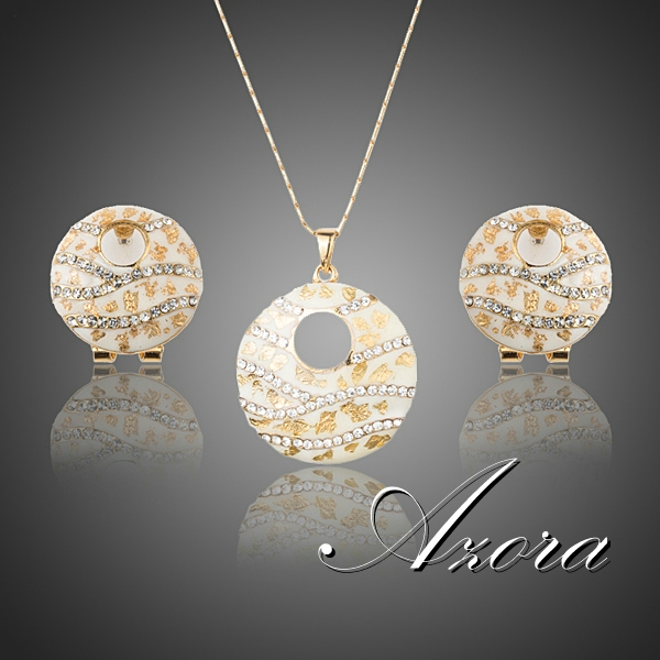 AZORA Gorgeous 18K Real Gold Plated Stellux Austrian Crystal Clip Earrings and Pendant Necklace Jewelry Sets TG0213(China (Mainland))