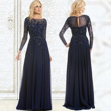 Navy Blue Evening Dress Mother Of The Bride Dress Sequined Applique Chiffon Long Evening Gown Long Sleeves Cheap Formal Dresses(China (Mainland))