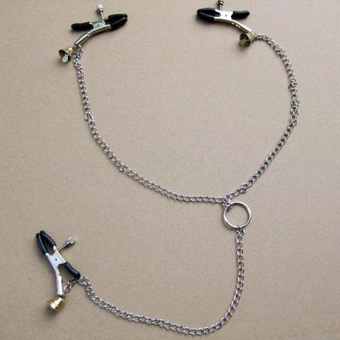 Stainless steel Milk clip Metal Chain with Bell Bondage Gear Sensitive Areas Flirting Fetish(China (Mainland))