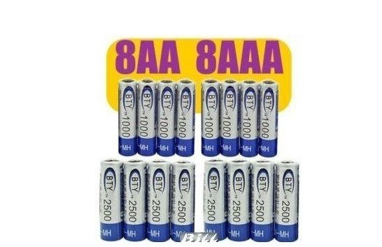 BIG SALE-------8+8 1.2v Piles AA 2500mAh AAA 1000mAh NiMH Ni-MH Rechargeable Recharge Battery Betteries Pack + Free Shipping
