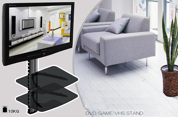 2 Tier Dual Glass Shelf Wall Mount Bracket Under TV Component Cable Box DVR DVD AE110CK1DE(China (Mainland))