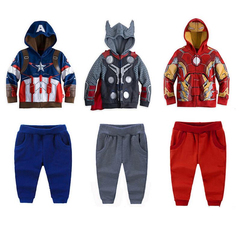 Retail new Boy the Avengers Clothing Set Children's Super Hero Captain America Boy's Coats + Pants Children Sport Suit(China (Mainland))