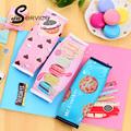 Korean Creative Macaron Pencil case Pencil Box Pencil Bag Leather Kawaii Stationery Pouch Office School Supplies
