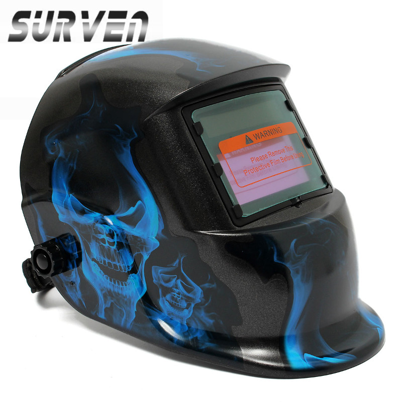 SURVEN New Stylish High Quality Pro Solar Welding Mask Auto Darkening Welding Helmet Blue Skull Style ARC TIG MIG Welding Helmet(China (Mainland))