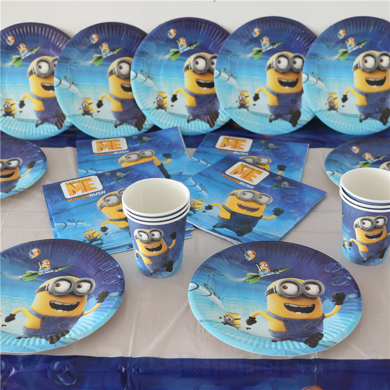 33pcs Kids Birthday Party Decoration Minions Paper napkins+Paper Plates+table cloth for party decoration baby shower favors(China (Mainland))