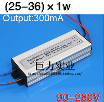 25-36 1w Led Driver Constant Current Power Supply 90-260V Waterproof Power Supply 300mA Led Driver *(China (Mainland))