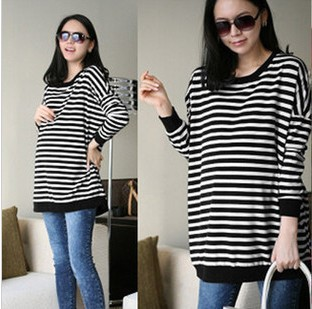 Spring hot-selling loose maternity clothing long-sleeve stripe  plus size loose loose maternity t-shirt w1<br><br>Aliexpress