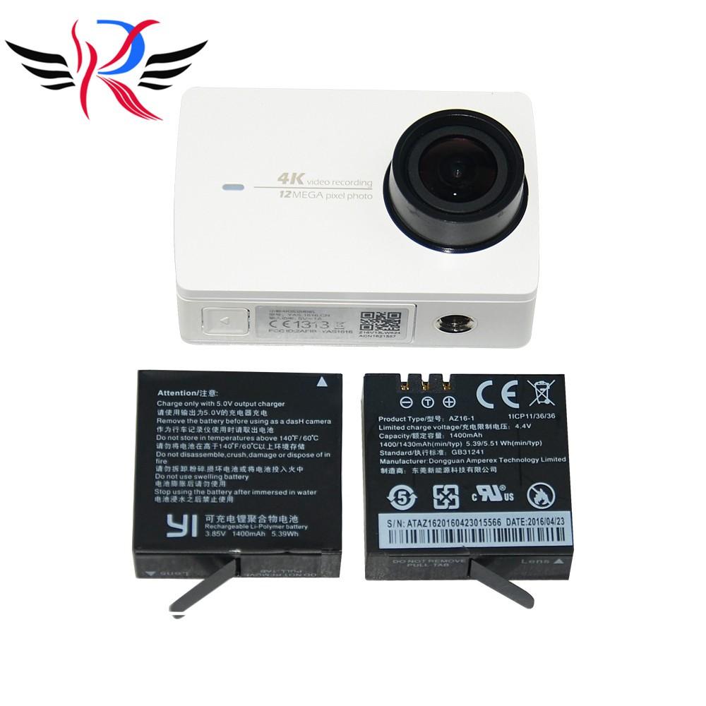 1Pcs Original Accessories Xiaomi Yi2 4K Action Camera Battery AZ16-1 3.85V 1400mAh 5.39WH Battery for Xiaoyi2 Outdoor Sport DV