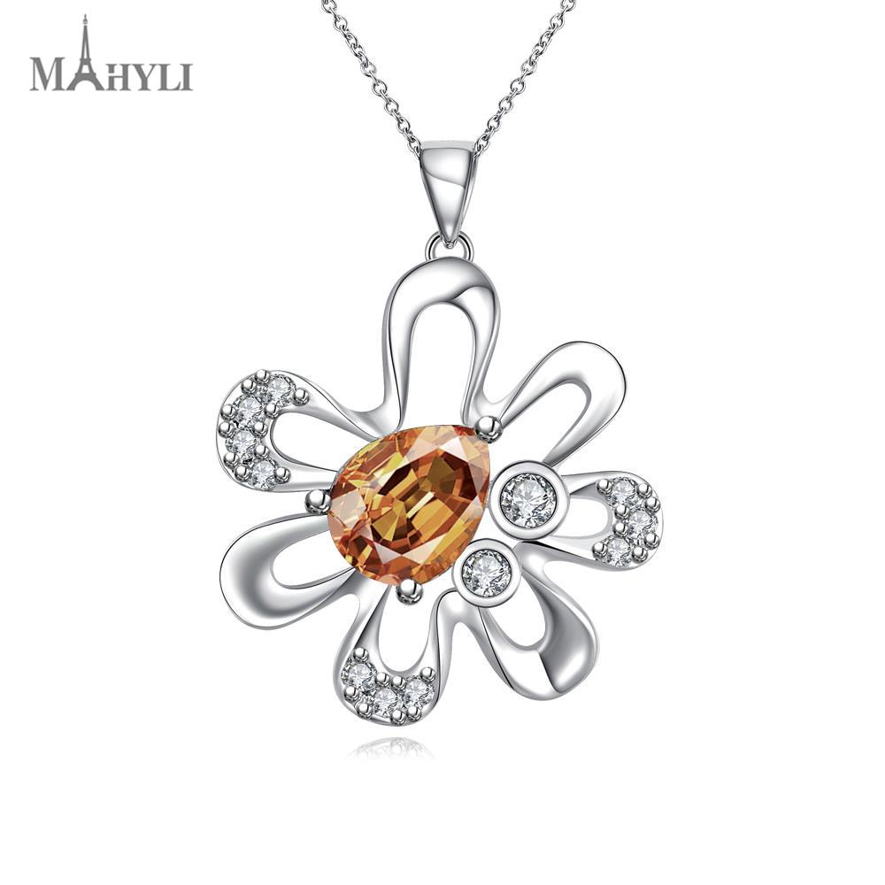 MAHYLI pure 925 silver flower Pendant white silver choker Necklace For women Men Women Stainless Steel wedding Jewelry(China (Mainland))