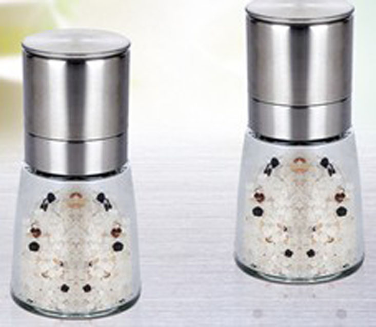 Glass bottle pepper mill salt grinder stainless steel