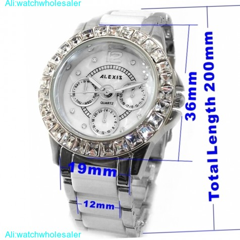 FW830G PNP Shiny Silver Watchcase White Dial Ladies Women Ceramic Bracelet Watch