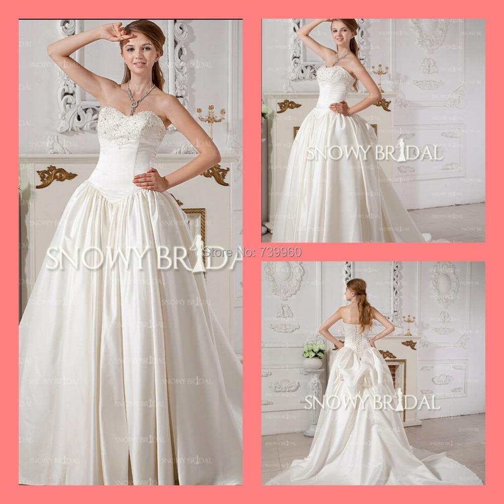 2015 terrific plain wedding dress Long Satin pick-ups beaded sequins Sweetheart Corsetlace natural Waist Wedding Dress - sarah linda's store