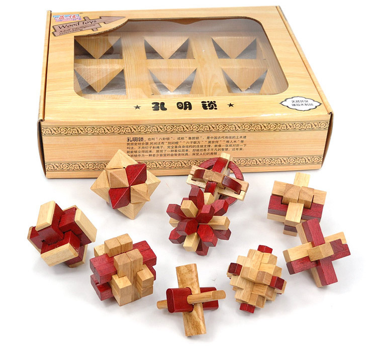 9PCS/Set IQ 3D Wooden Puzzle Brain Teaser with Solution Burr Interlocking Puzzle Game Toy for Adults and Kids(China (Mainland))