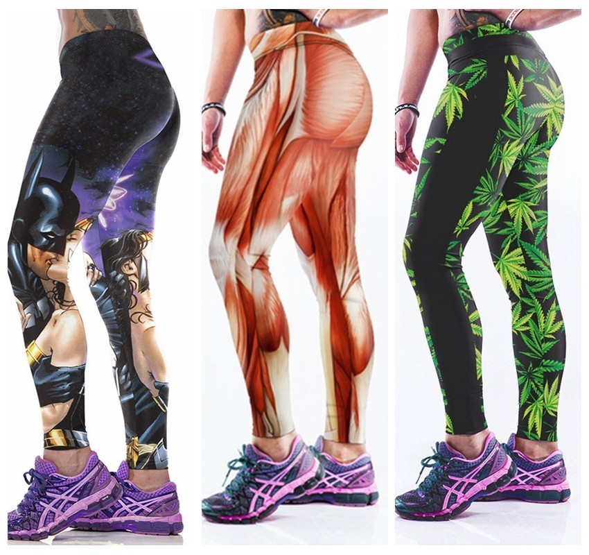 2016 New Fashion Yoga Sport Pants Fitness Trousers Women Workout Legging Gym Muscle Muscular Strong iron Man Green Leaf LNASlgs(China (Mainland))