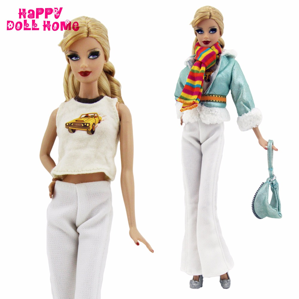 1 Set Vogue Outfit Informal Put on Leather-based Jacket Inexperienced Coat Belt Hat Scarf Trousers Footwear Garments For Barbie Doll Equipment Toy