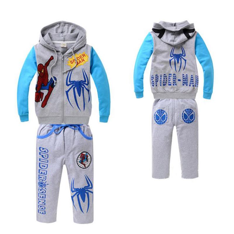 Spiderman Boys Kids Clothing Set baby Boy spider-man clothes suit pullover Boys Cartoon Coat +Pants children vetement garcon(China (Mainland))
