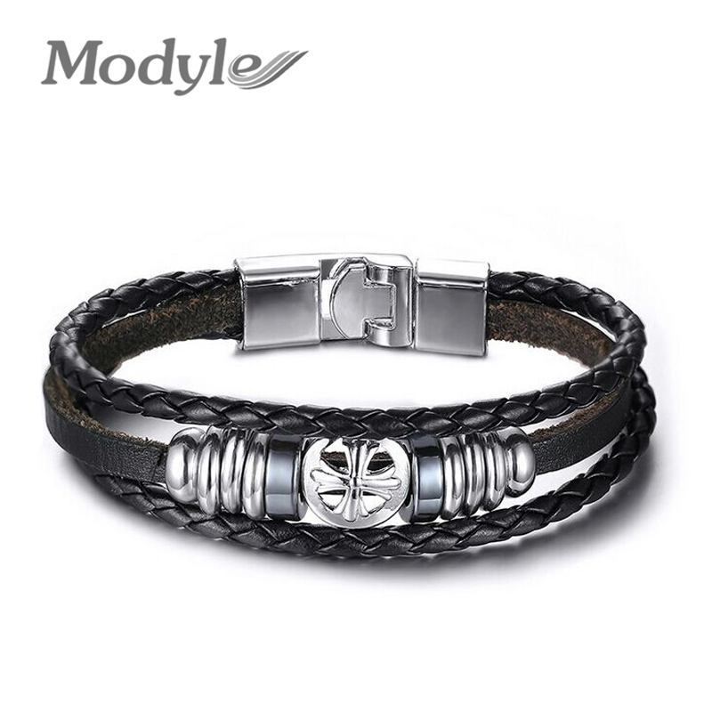 Wholesale Rock Punk Men Leather Bracelets & Bangles Stainless Steel Bracelets for Men Retro Charms Jewelry(China (Mainland))