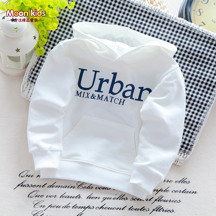 Free shipping 2015 male child letter for Urban cotton white with a hood sweatshirt baby boy all-match t-shirt(China (Mainland))