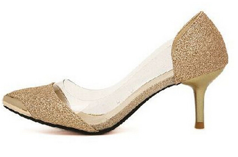 Gold Pumps Low Heel | Tsaa Heel